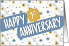 Employee Anniversary 1 Year - Pattern in Blue and White card