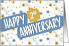 Employee Anniversary 2 Years - Pattern in Blue and White card