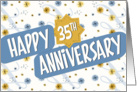 Employee Anniversary 35 Years - Pattern in Blue and White card