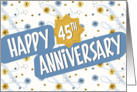Employee Anniversary 45 Years - Pattern in Blue and White card