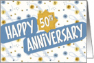 Employee Anniversary 50 Years - Pattern in Blue and White card