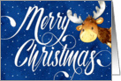 Christmas Card - Swirly Merry Christmas Text and Cute Reindeer card