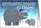 Funny Christmas Card - Happy Hippos card