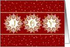 Christmas Card - JOY and Snowflakes Red Gold card