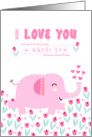 Valentine's Day Card - Pink Elephant and Flowers card