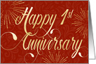 Employee Anniversary 1 Year - Swirly Text and Star Bursts - Red Gold Effect card