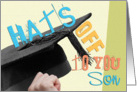 Son Graduation Congratulations Card - Hats Off To You - Summer Colors card