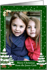 Christmas Photo Card Border - Snowy Decorated Christmas Trees, Portrait Format card