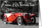 Dad 100th Birthday Card - Classic Car Red card
