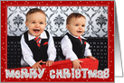 Christmas Photo Card - Red and Silver Merry Christmas and Stars card