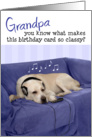 Grandpa Humorous Birthday Card - Dog with Headphones Enjoying Music card