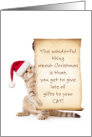 Funny Cat Christmas Card - Cat with Verse on a Scroll card