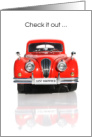 Just Married Announcement Card - Red Car card