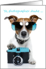 Birthday Card for Photographer - Dog with Sunglasses and Camera card
