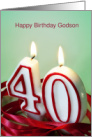 Godson 40th Birthday Card - Candles in Shape of 40 card