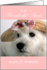 Aunt 70th Birthday Card - Westie in Straw Hat card