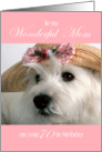 Mom 70th Birthday Card - Westie in Straw Hat card