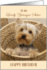 Birthday Card for Younger Sister - Yorkshire Terrier Puppy card