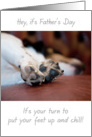 Father's Day Card - Sleepiing Dog with Focus on Paws card