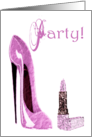 Pink Stiletto and Lipstick Party Invitation Card