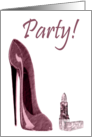 Red Stiletto and Lipstick Party Invitation Card