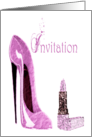 Grunge Pink Stiletto and Lipstick Party Invitation Card