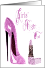 Modern Grunge Girls' Night Out Pink Stiletto and Lipstick Party Card