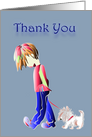 Thank You Greeting Card, with cute boy and dog digital art design card