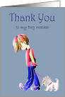 Thank You to my Dog Walker, Boy Walking Cute Dog Card