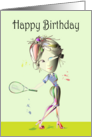 Happy Birthday Fun Card, Modern woman playing Tennis in Stiletto's! card