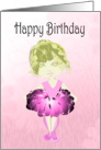 Happy Birthday Greeting Card, with Cute Ballerina Art in Pink Tutu card