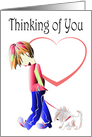 Thinking of You Greeting Card, with Cute Boy Walking Dog Art card