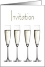 Invitation Card, Stylish and Elegant Champagne Glass Design card
