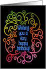 Wishing You a Very Happy Birthday - with Rainbow Swirls on Black card