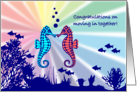 Congratulations on Moving in Together - Seahorses in Coral card