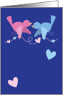 Hanging love pink and blue birds with love hearts card