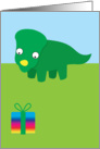 Birthday, Cute Dinosaur looking down at a present card