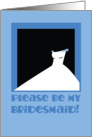 Please be my bridesmaid! Blue wedding dress card