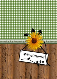 Sunflower Moving Announcement Rustic Country Style We Have Moved Greeting Card