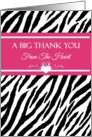 Thank You From The Heart With Trendy Pink And Black Zebra Print card