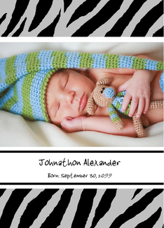 Trendy Black and White Zebra Print Photo Birth Announcement Greeting Card