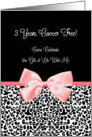 Breast Cancer 3 Year Survivor Party Invitation Girly Pink Ribbon card