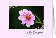 Thinking of You Estranged Daughter Pink Cosmos In The Rain card