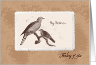 My Mother- Thinking of You, Estranged Mother - Vintage Birds card