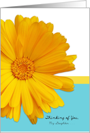 Thinking of You Estranged Daughter, Trendy Summer Blue, Yellow, Daisy card