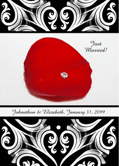 Red Rose Petal With Diamond Customizable Wedding Announcement Greeting Card