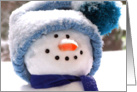 Happy Handmade Snowman Face - Thank You for Christmas Gift card