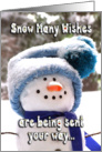 Happy Handmade Snowman Holiday Greetings card