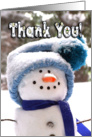 Happy Handmade Snowman - Thank You for Christmas Gift card