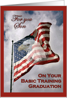 Basic Training Graduation - Son, American Flag & Eagle card